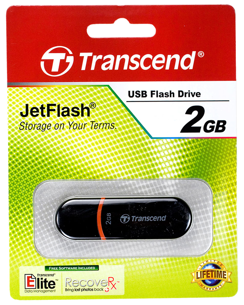 Flash-носитель 4Гб USB2.0 Transcend Jetflash 300 черный с зеленым Retail.